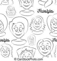Fashion female avatars Hairstyles pattern, eyes and mouths...