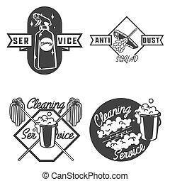 Vintage cleaning service emblems - Set of vintage cleaning...