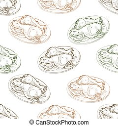 Seamless pattern chicken legs scetch. Vector illustration,...
