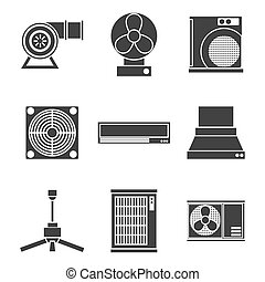 conditioning system icons set - Conditioning system icons...