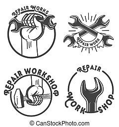 Vintage repair workshop emblems Vector illustration, EPS 10