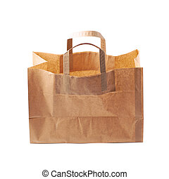 Paper bag isolated over the white background