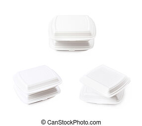 Two food delivery containers isolated - Two white food...