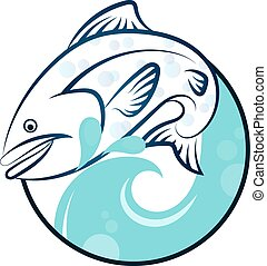 Fish on the waves vector silhouette