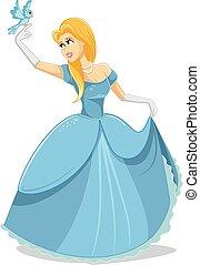 Beautiful Princess with Magic Bird Vector Illustration -...