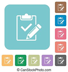Flat fill out checklist icons on rounded square color...