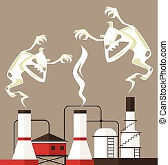 Air pollution. Smoke monster. Vector flat cartoon...