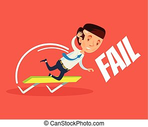 Business failure. Vector flat cartoon illustration