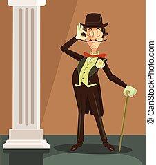 Victorian gentleman Vector flat cartoon character...