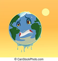 Stop global warming. Planet character. Vector flat...