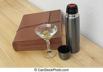 Business Deal Liquid Lunch - Martini drink with open thermos...