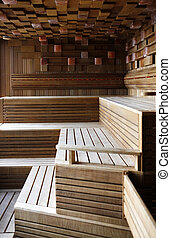 Finnish sauna - Interior of a wooden Finnish sauna
