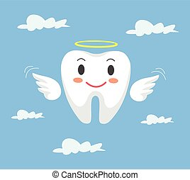 Removal of tooth. Vector flat cartoon illustration