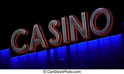 Casino Sign Closeup Handheld - Handheld shot of an evening...