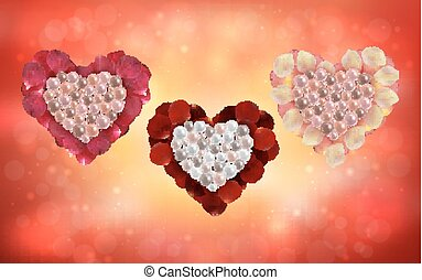 Hearts of pearls and rose petals - Illustration of heart...