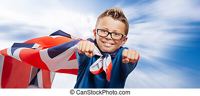 Smiling British superhero - Smiling English super hero...