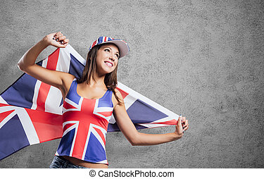 Cheerful English girl with a flag - Cheerful cute English...