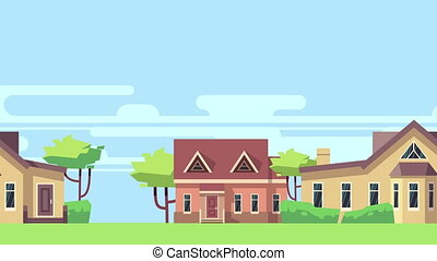 Animated background with rural landscape with country...