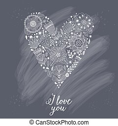 Vector doodle heart made of flowers