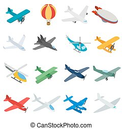 Aviation icons set, isometric 3d style - Aviation icons in...