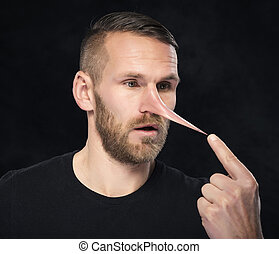 homem, semelhante,  Pinocchio, nariz