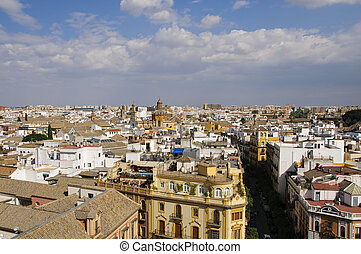 Seville cityscape as seen from La Giralda tower. View on the...