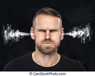Angry man with smoke coming out from his ears - Angry man...