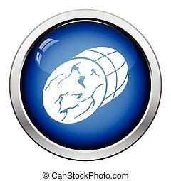 Ham icon. Glossy button design. Vector illustration.