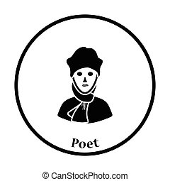 Poet icon. Thin circle design. Vector illustration.