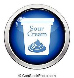 Sour cream icon. Glossy button design. Vector illustration.
