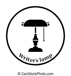 Writers lamp icon Thin circle design Vector illustration