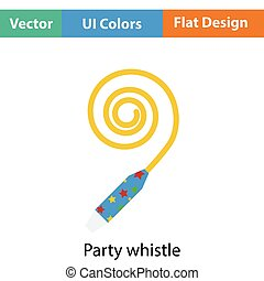 Party whistle icon Flat color design Vector illustration
