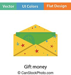 Birthday gift envelop icon with money Flat color design...
