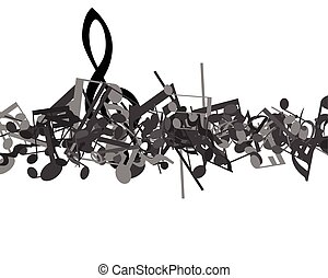 Musical Design - Black and white musical design from music...