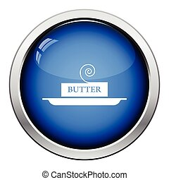 Butter icon. Glossy button design. Vector illustration.