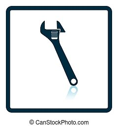 Icon of adjustable wrench. Shadow reflection design. Vector...