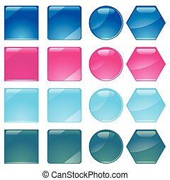 Set of multicolored buttons, part 10, vector illustration