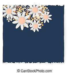 Slip of paper and different flowers