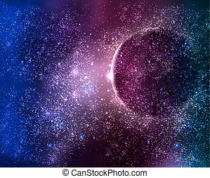planet in the starry night sky