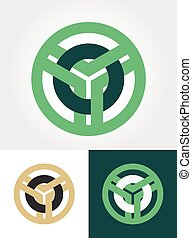 circled emblem vector - abstract overlaped circled emblem...