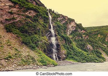 Waterfall in Alaska - Scenic Waterfall in Alaska, USA