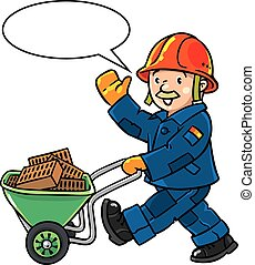 Funny construction worker with cart - Funny construction...