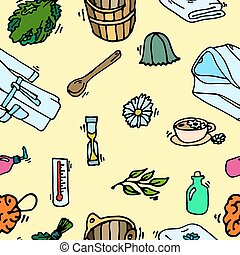 Pattern of sauna icons Banya elements Vector illustration,...