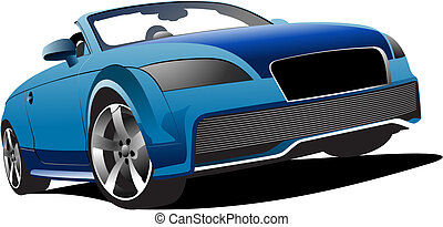 Blue cabriolet on the road. Vector