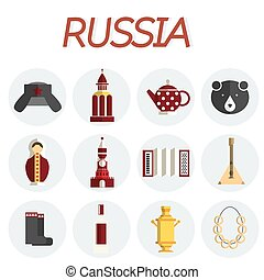 Russia flat icon set - Travel to Russia Set of icons of...