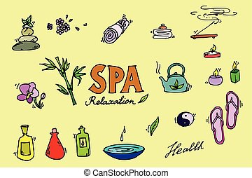 Spa icons set. - Spa colorful icons set. Relax. Vector...