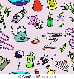Spa seamless pattern. Relax icons. Vector illustration EPS...