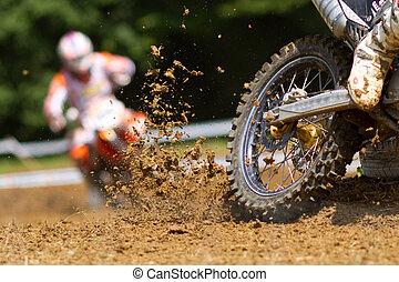 motocross - mud in a motocross race