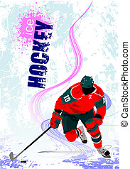 Ice hockey players poster. Colored