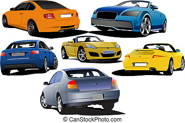 Six cars on the road. Vector illus